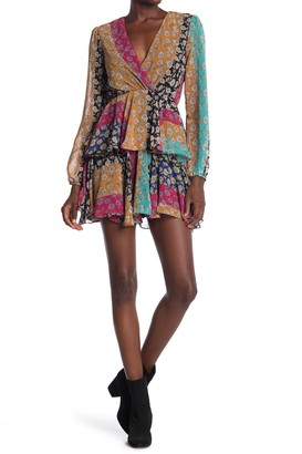 Do & Be Colorblock Floral Tiered Ruffle Skirt Dress