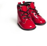 Little Lulus Little Lulus Red Ruby Patent Tall Boots With Black Trim