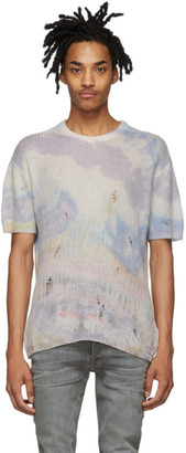 Amiri Multicolor Cashmere Tie-Dye Short Sleeve Sweater