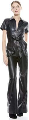 Alice + Olivia Gorgeous Vegan Leather Jumpsuit