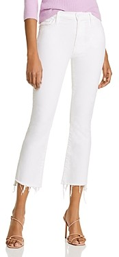 Mother The Insider Crop Step Fray Flared Jeans in Fairest Of Them All