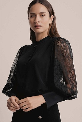 Witchery Lace Sleeve Blouse