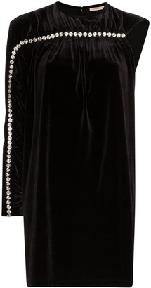 Christopher Kane Asymmetric Diamante Stripe Mini Dress