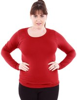 Clothes Effect Woman Plus Size Round Neck Long Sleeve T-Shirt