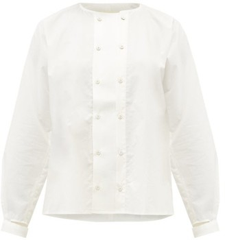 Toogood The Chef Collarless Cotton-poplin Shirt - Ivory