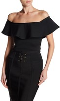 Wow Couture Bandage Ruffle Popover Crop Top