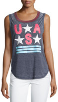 Chaser Sleeveless USA Tank, Blue/Red