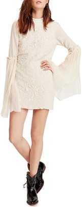 Free People Cleo Tonal Embroidered Mini Dress