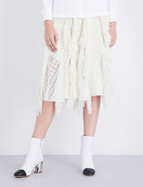 Sacai A-line fringed knitted skirt