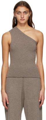 Extreme Cashmere Brown Cashmere Asymmetric Tank Top