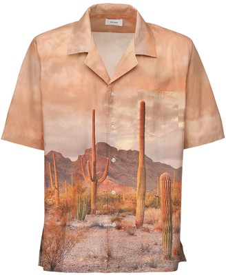 Rhude Cactus Print Rayon Bowling Shirt