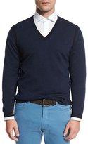 Ermenegildo Zegna Textured Cashmere-Blend V-Neck Sweater, Navy