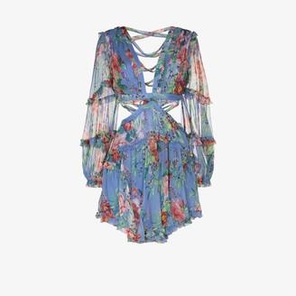 Zimmermann Bellitude cutout floral silk mini dress