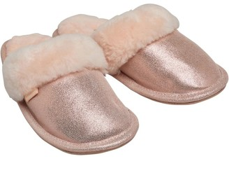 Bedroom Athletics Womens Bonnie Glitter Sheepskin Mule Slippers Pink Glitter