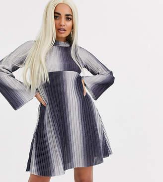 Asos DESIGN Petite long sleeve ombre high neck mini smock dress in sparkle rib-Blue