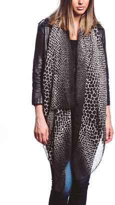 Barrington Women's Accent Scarves BLACK - Black & White Snake Print Sheer Scarf - Women