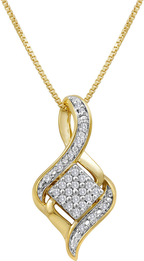 JCPenney FINE JEWELRY 1/10 CT. T.W. Diamond Cluster Pendant Necklace