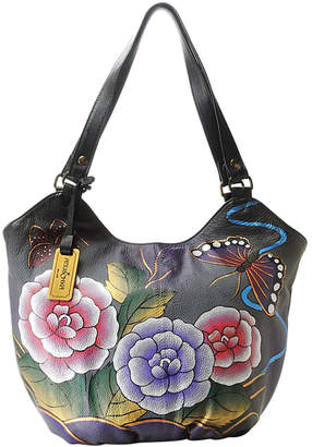 Anuschka Women's Handbags Antique - Antique Rose Pewter Hand-Painted Leather Hobo