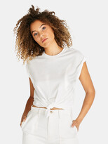 Thumbnail for your product : ÉTICA Gemma Organic Cotton Tie Front Tee - Cloud White