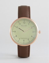Reclaimed Vintage Dome Leather Watch In Brown