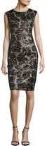 Vince Camuto Sleeveless Floral Sequin Sheath Dress