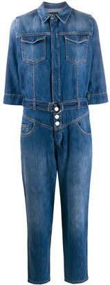 Pinko Stonewashed Denim Jumpsuit