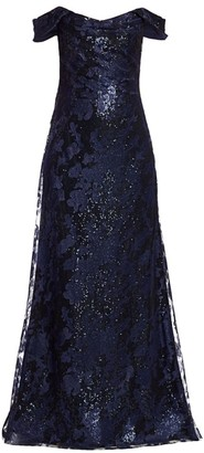 Rene Ruiz Collection Embellished Off-The-Shoulder Gown