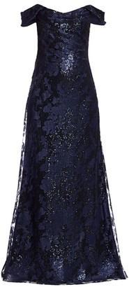 Rene Ruiz Collection Embellished Off-The-Shoulder Gown