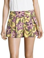 RED Valentino Pleated Floral-Print Shorts