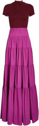 STAUD Gage Tiered Colorblock Maxi Dress