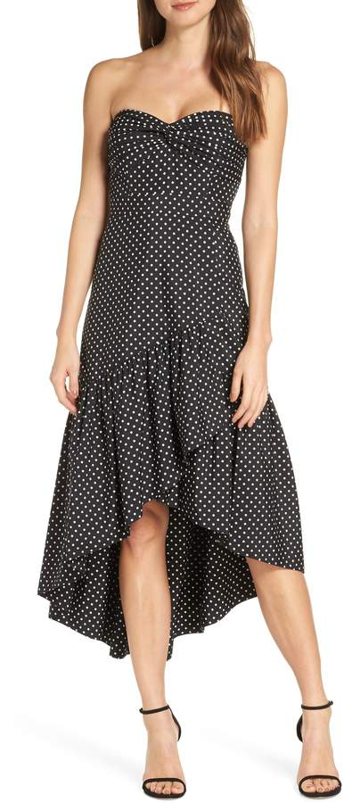 Eliza J Strapless Polka Dot Cocktail Dress