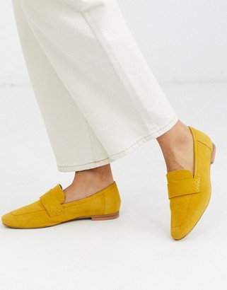 Asos DESIGN Motion suede loafers in mustard