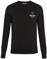 Dolce & Gabbana Bee-appliqué Crew-neck Wool Sweater