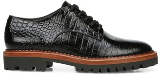 Vince Camilla Croc-Embossed Leather Oxfords