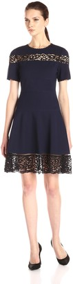 Rebecca Taylor Women's Short Sleeve Ponte Lace Dress