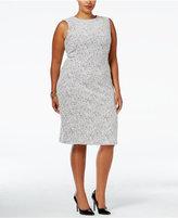 Calvin Klein Plus Size Zip-Trim Textured Sheath Dress
