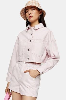 Topshop CONSIDERED High Waist Pink Denim Paperbag Shorts