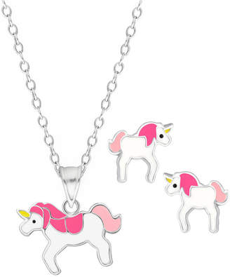 Rhona Sutton 4 Kids Children Unicorn Pendant Necklace Stud Earrings Set in Sterling Silver