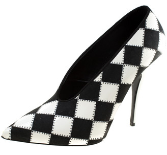 Stella McCartney Monochrome Checked Faux Leather Pointed Toe Pumps Size 38