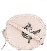 No.21 embellished crossbody bag - women - Brass/Lamb Nubuck Leather/glass - One Size