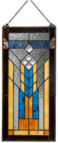 """River Of Goods 19.5"""" Stained Glass Mission Window Panel, Brown"""