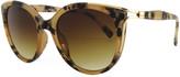 Kenneth Jay Lane Kjl By KJL by Women's Sunglasses TORT - Brown Tortoise & Gold-Temple Oversize Round Sunglasses