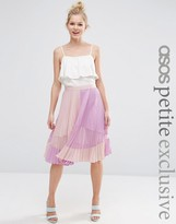 Asos Pleated Midi Skirt with Sheer Insert Detail