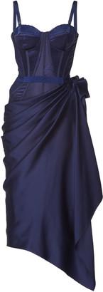 Alexander McQueen Women's Bustier Silk Dress - Blue - Moda Operandi