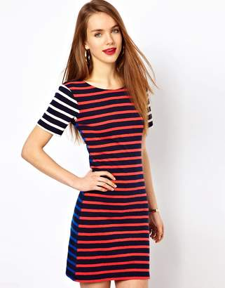 French Connection Stripe T-Shirt Dress-Navy