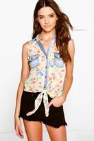 Boohoo Annie Floral Denim Pocket Tie Front Shirt