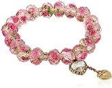 "Betsey Johnson Tzarina Princess"" Pink Flower Bead Stretch Bracelet, 2.5"""
