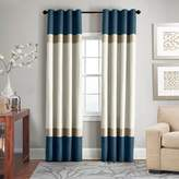 Veratex Brooklyn Colorblock Linen 108-Inch Grommet Window Curtain Panel in Teal