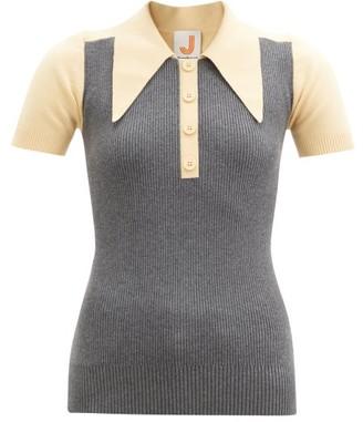 JoosTricot Bi-colour Cotton-blend Polo Shirt - Grey Multi