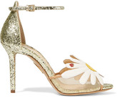 Charlotte Olympia Margherite Appliquéd Mesh And Glittered Leather Sandals - Gold